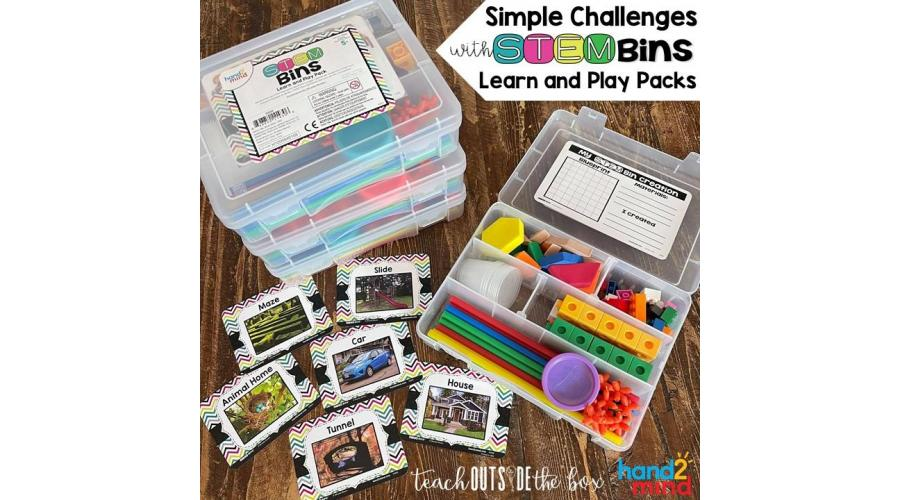 Simple Challenges with STEM Bins Learn and Play Packs