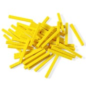 Base Ten Blocks, Rods, Yellow Plastic, Set of 50