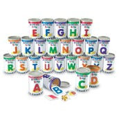 Alphabet Soup Cans Set with Photographic Cards, Set of 26