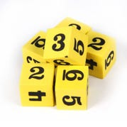Foam Number Cubes, Set of 6