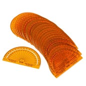 SAFE-T® Protractors Orange, Separated Scale, Set of 24