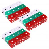 "Dot Dice in Red, Green & White, 5/8"", Set of 36"
