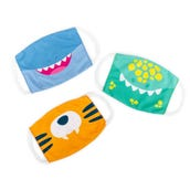Kids' Face Reusable Masks, Dinosaur, Tiger, Shark Set