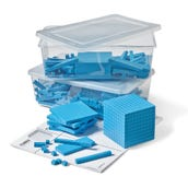 Blue Plastic Base Ten Blocks Place Value Set