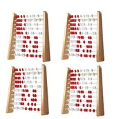 Rekenrek 100-Bead Wood,Small Group Set of 4