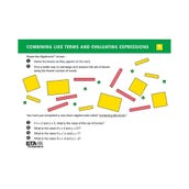 Algeblocks Activity Cards: Expressions & Operations, Set of 16