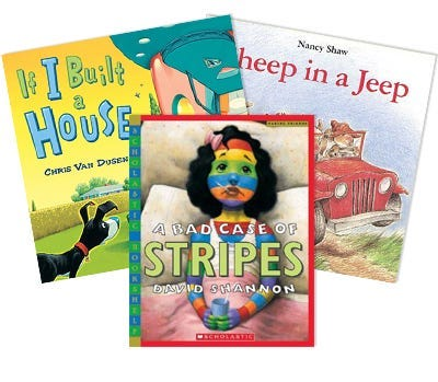 3 books fanned out.  If I build a house, a bad case of stripes and sheep in a jeep