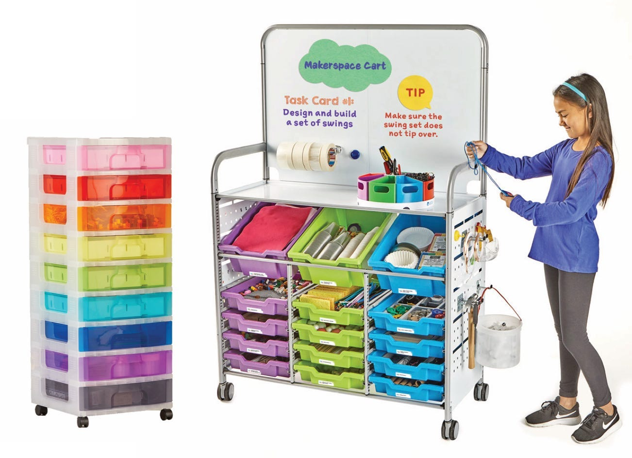 Makerspace classroom and STEM lab carts with a girl working