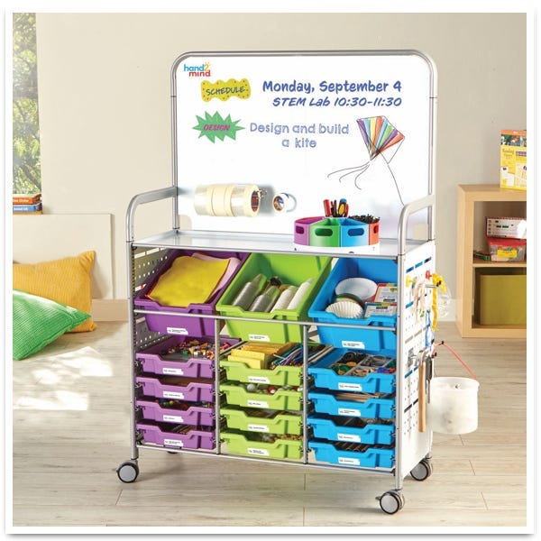 fully stocked makerspace lab cart for grades K-8
