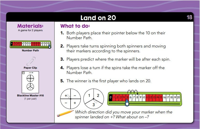 sample lesson for daily math fluency first grade showing an activity called Land on 20
