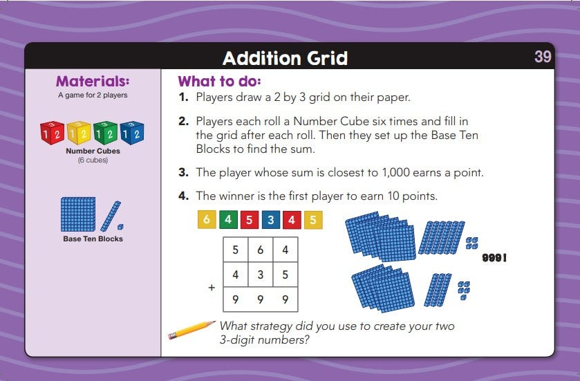 sample lesson for daily math fluency center kit grade 2 activity called Addition grid