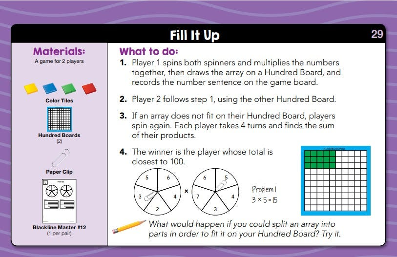 Sample activity for daily math fluency centers kit grade 2 activity called fill it up
