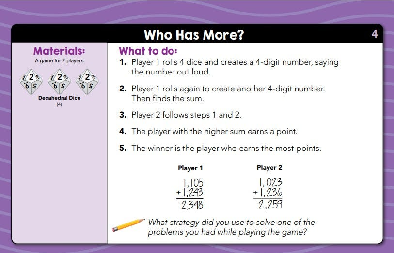 sample lesson for daily math fluency center kit grade 4 called who has more