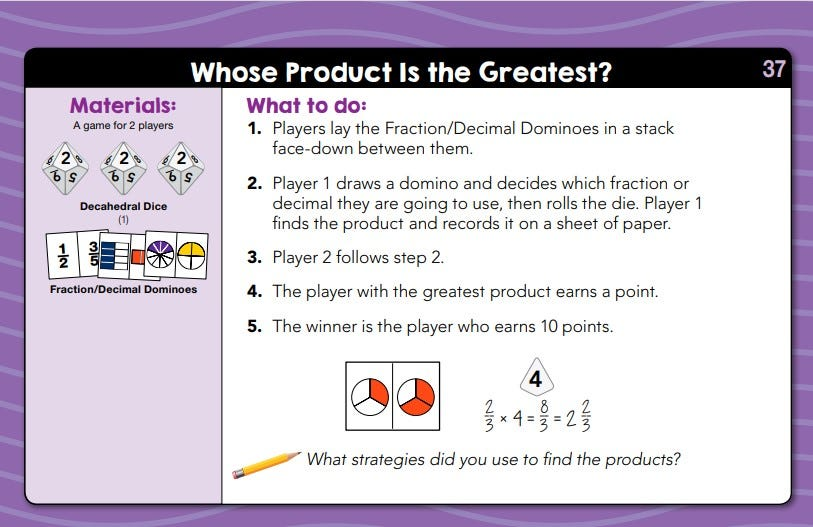 sample lesson for daily math fluency center kit grade 5 the activity is called whose product is the greatest