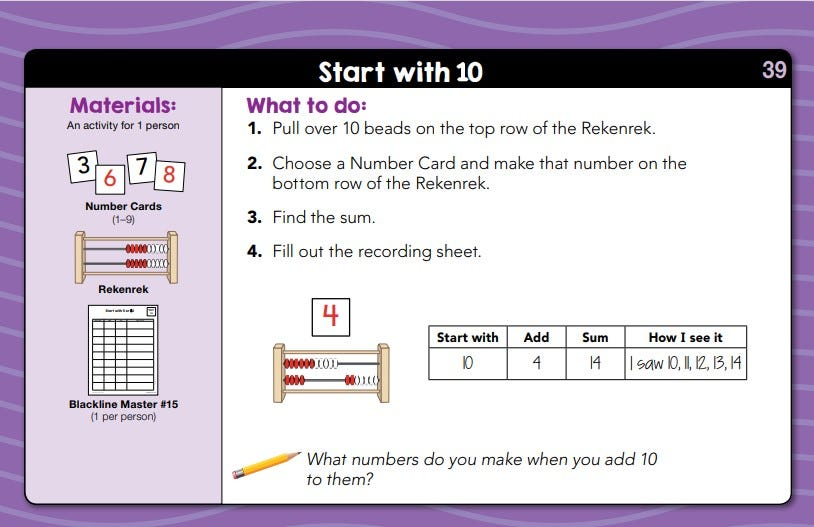 Sample lesson for daily math fluency centers kindergarten kit showing an activity titled start with 10