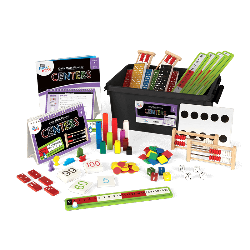 the daily math fluency center kit for first grade laid out so the customer can see the manipulatives included
