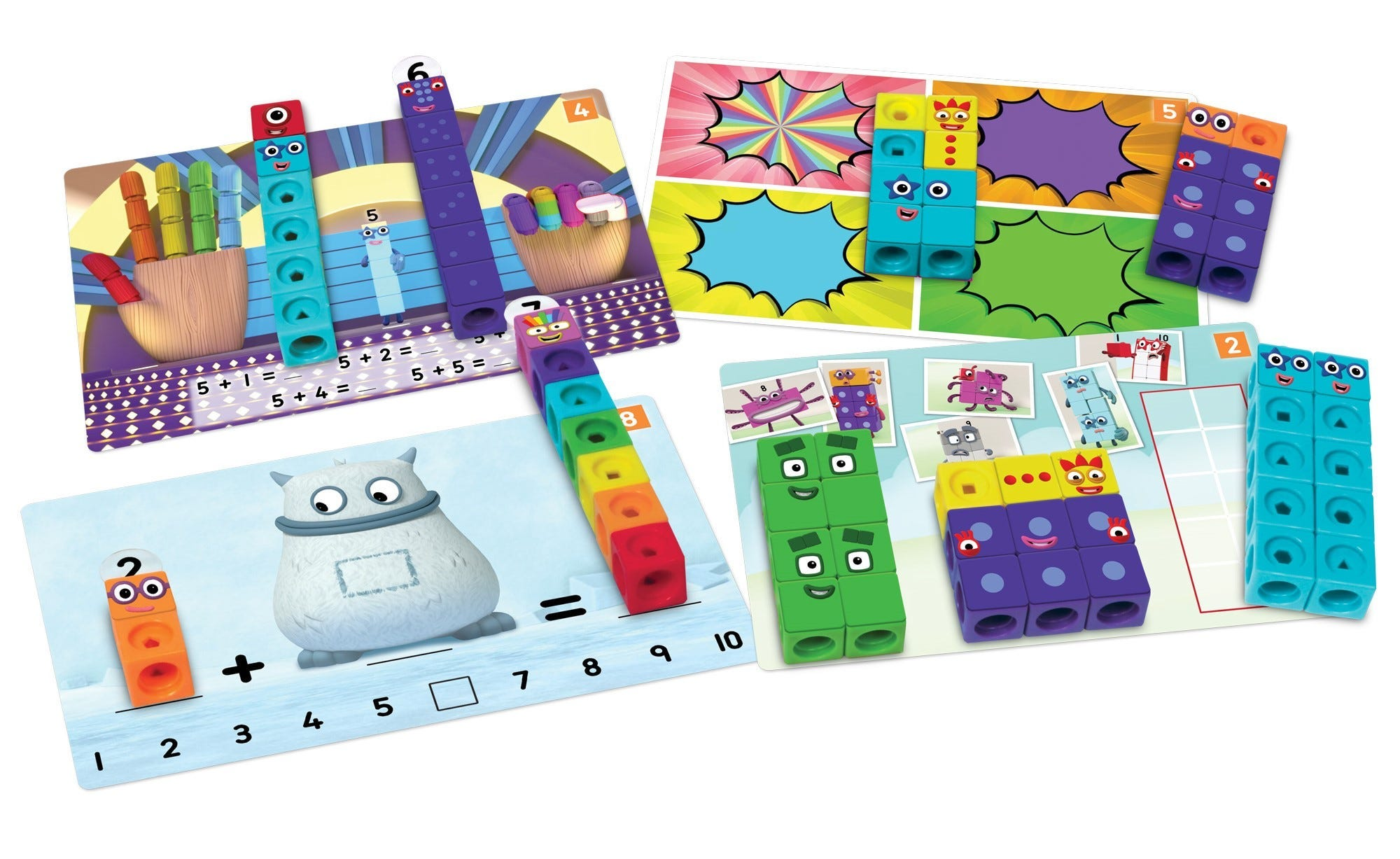 Numberblocks 1-10 Activity Set cards and cubes example