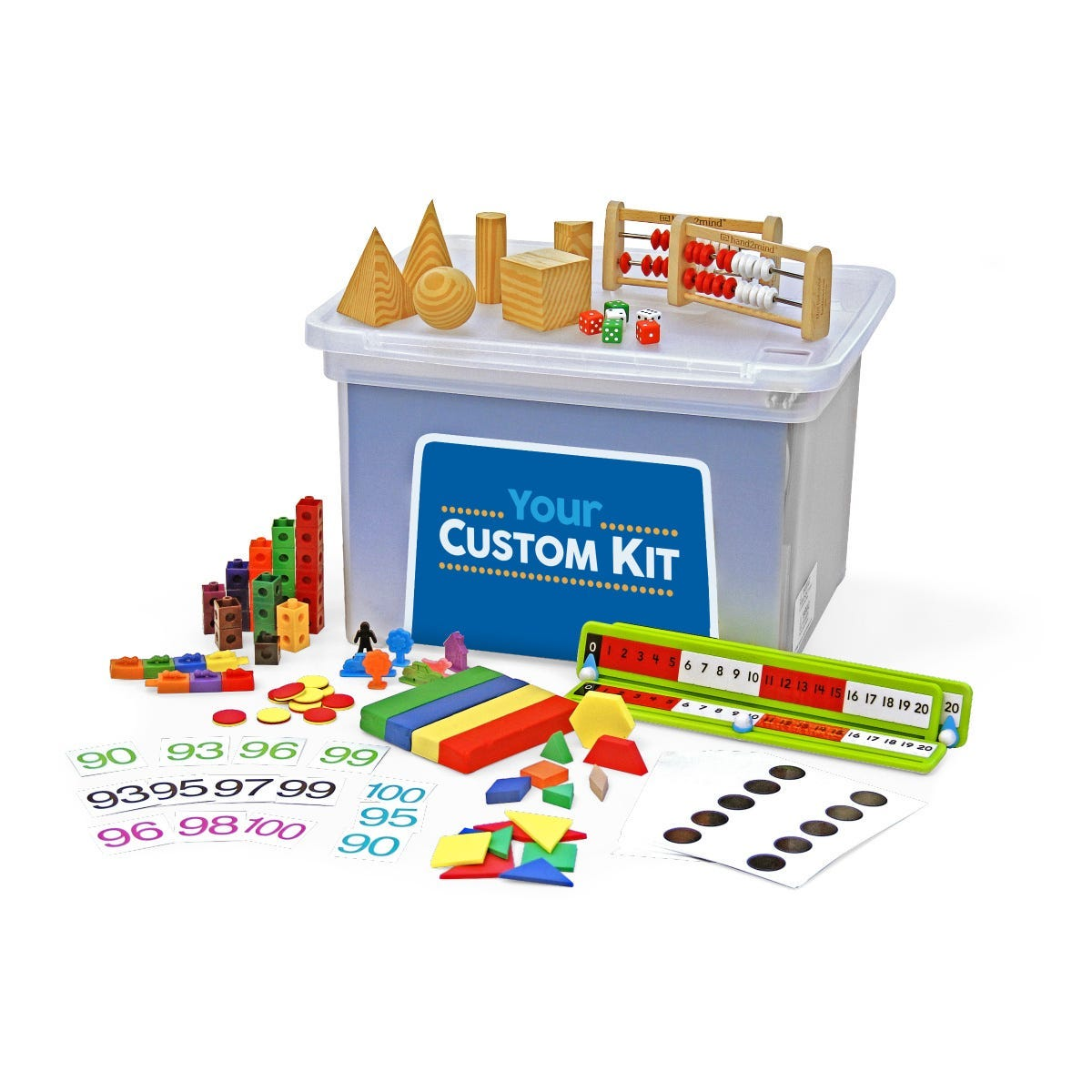 hand2mind custom wholesale school supply kit with interactive and hands-on learning resources.
