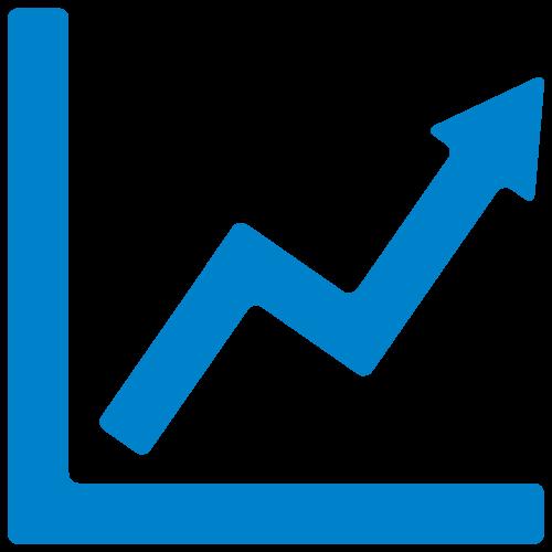a chart with an upward arrow in blue
