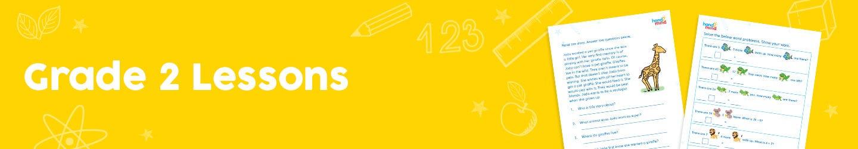 yellow box with grade 2 written in white