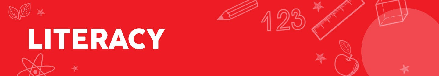 literacy written in white on a red background