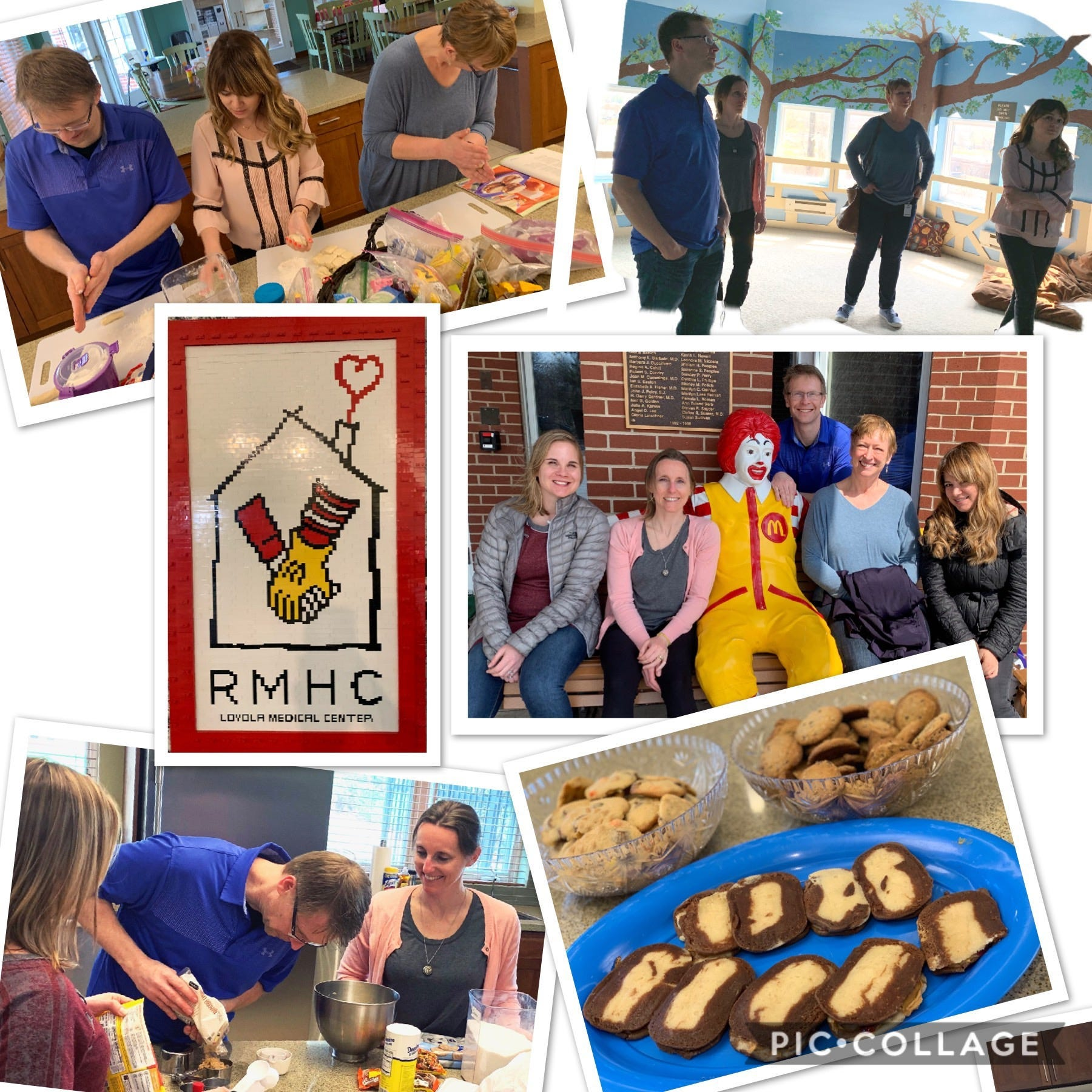 a group volunteering making cookies at a Ronald McDonald House