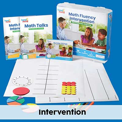 math fluency fraction/decimal kit with a blue background