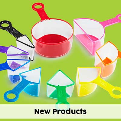 rainbow fraction measuring cups on a green background
