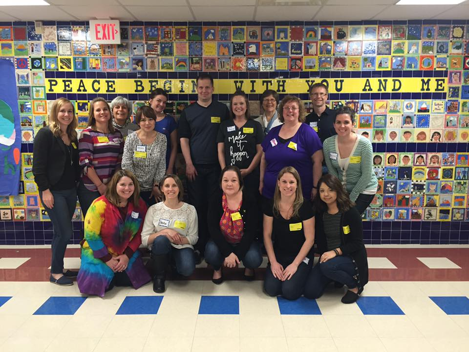 the hand2mind marketing team volunteering at a local elementary school