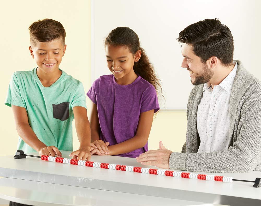 a teacher and 2 students using the 120 bead rekenrek