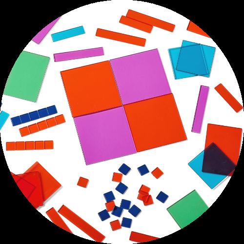 scattering of algebra tile model math manipulatives