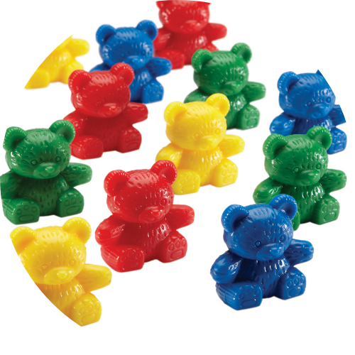 red, green, blue, yellow, plastic counting bear math manipulatives