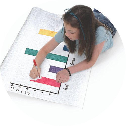 a girl coloring a bar graph on a roll of graphing paper