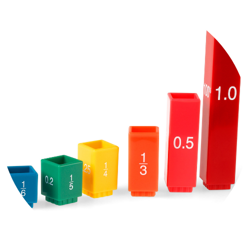 Rainbow fraction equivalency tower cube math manipulatives for teaching fractions, decimals, and percent