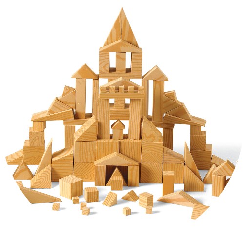 math manipulatives built like a castle made out of 3D blocks
