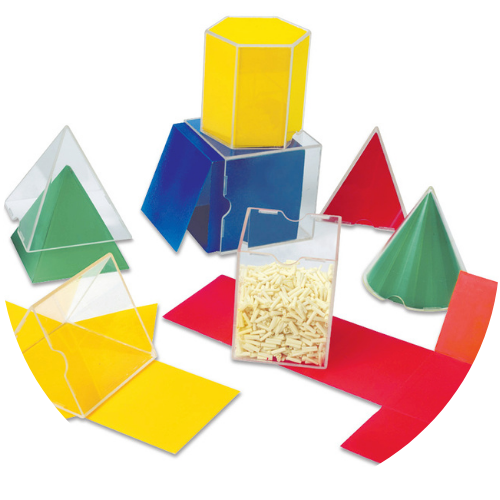 3D shapes with clear plastic sides and red, blue, green, and yellow nets