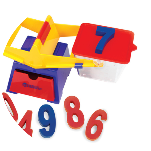 red, blue, and yellow balance with weighted numbers