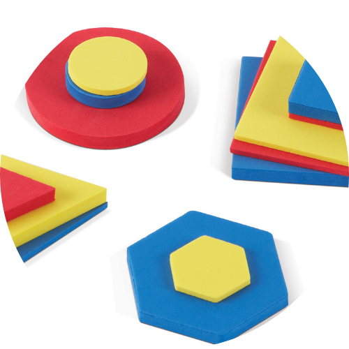 red, yellow, and blue foam attribute blocks