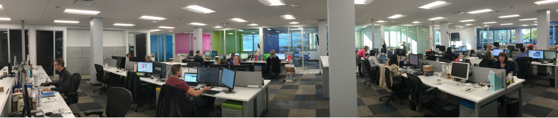 showing the open office concept at hand2mind headquarters