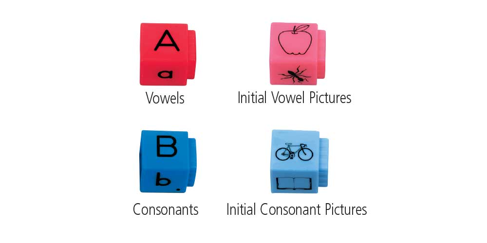 reading rod cubes color coded with red for vowels, pink for initial vowel pictures, blue for consonants, and light blue for initial consonant pictures