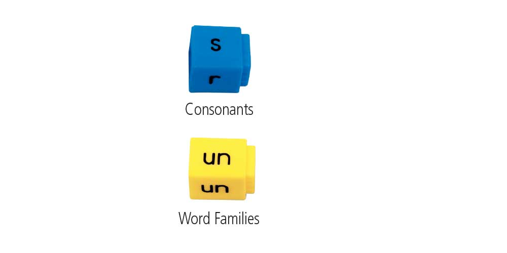 reading rods short vowel word families cubes with color coding of blue for consonants and yellow for word families