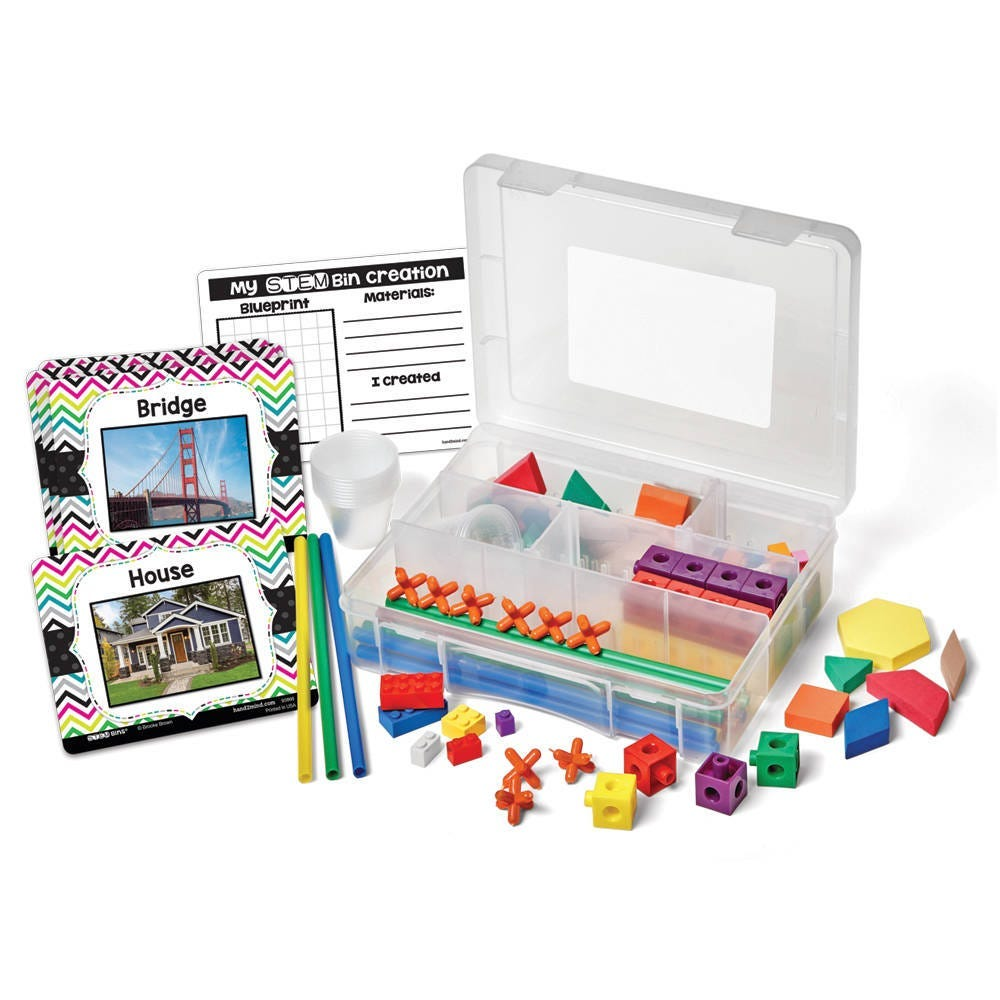STEM Bins Learn and Play pack showing manipulatives and card sets