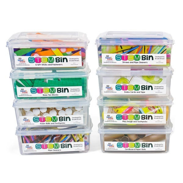 4 STEM Bins with labels