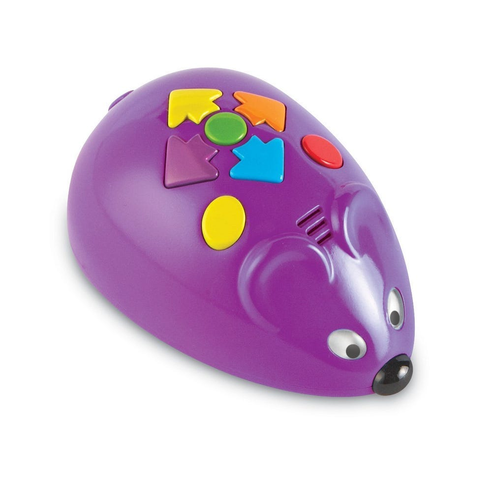 Code & Go robot mouse, purple, on texas landing page