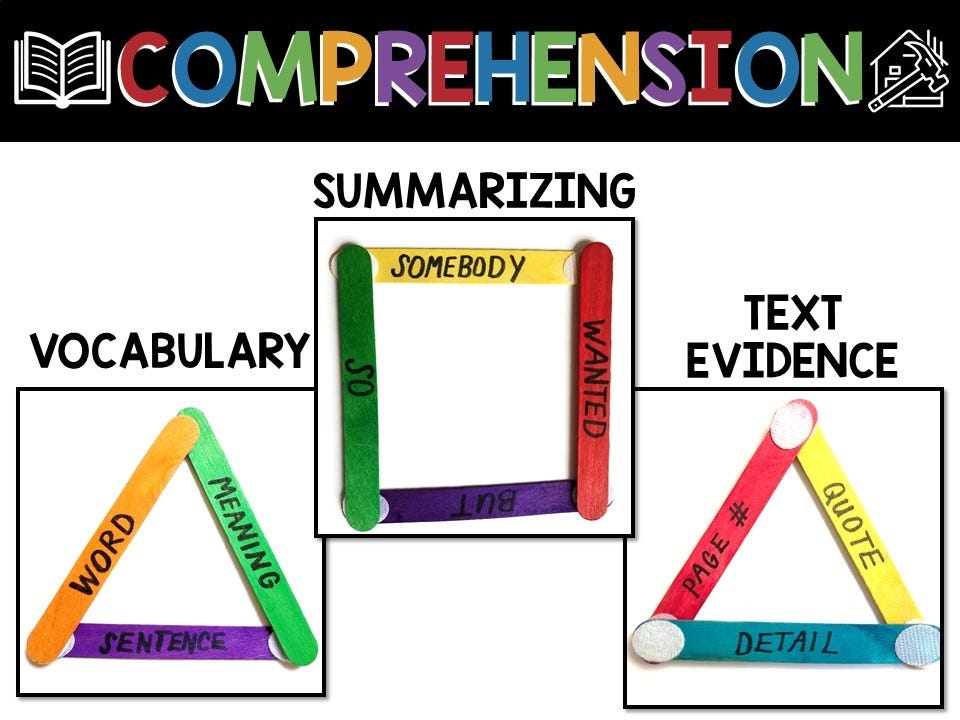 vocab, summarizing and text evidence comprehension, infographic