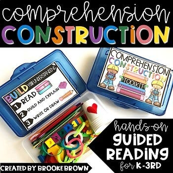 hands-on guided reading comprehension construction for k-3rd grade, infographic