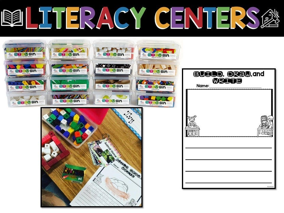 literacy centers with stem bins, infographic