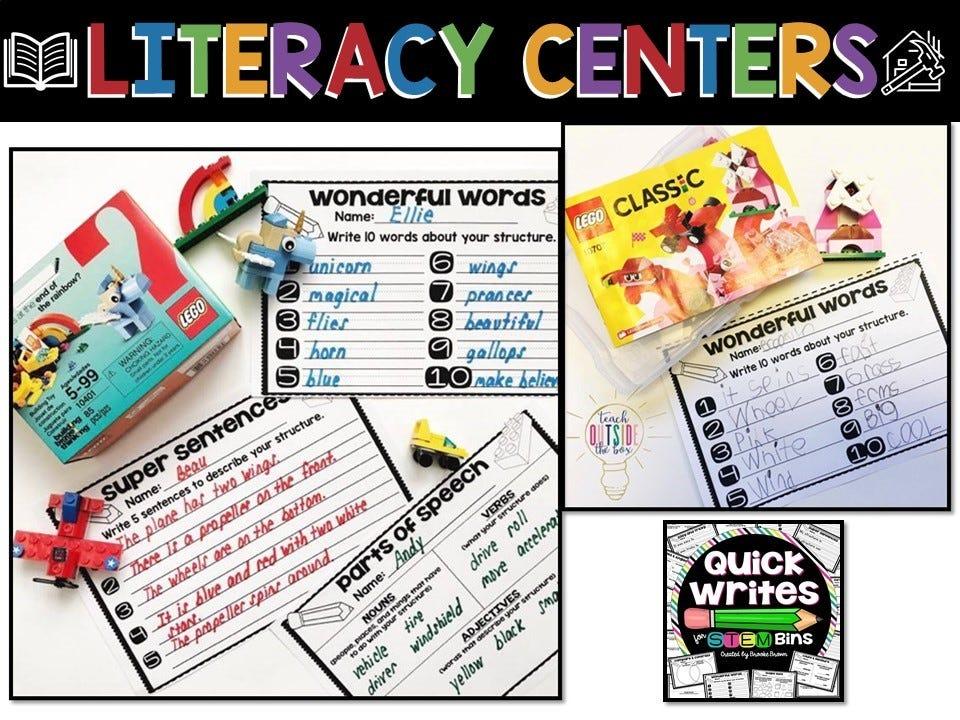 literacy centers activities, infographic