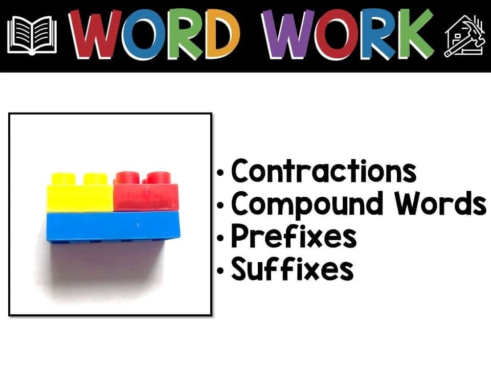 word work strategies for building words, infographic