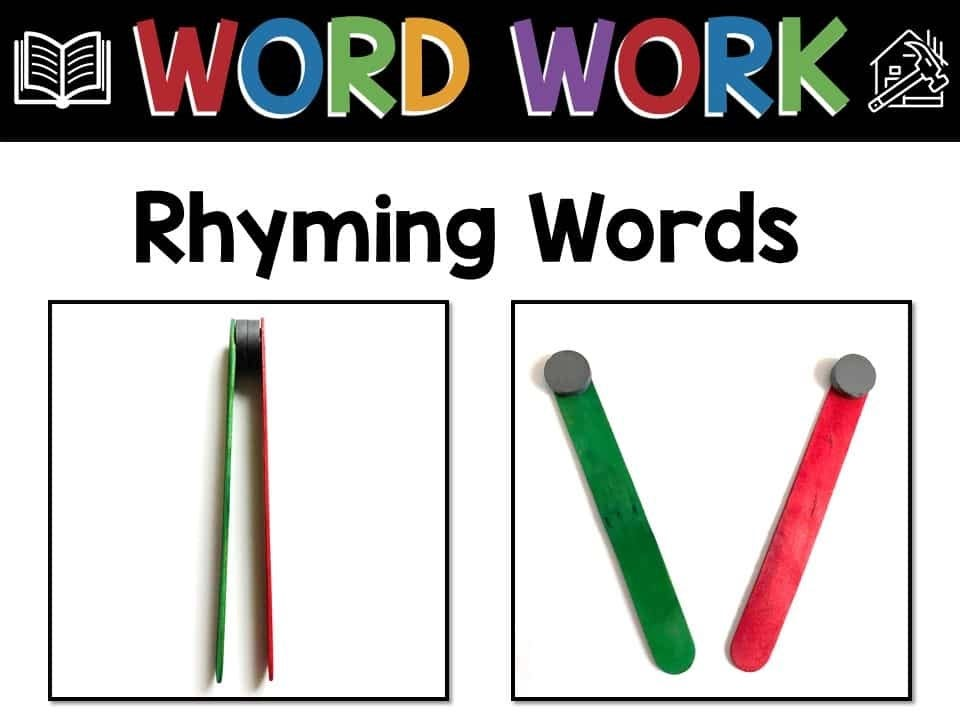 word work strategies for rhyming words, infographic